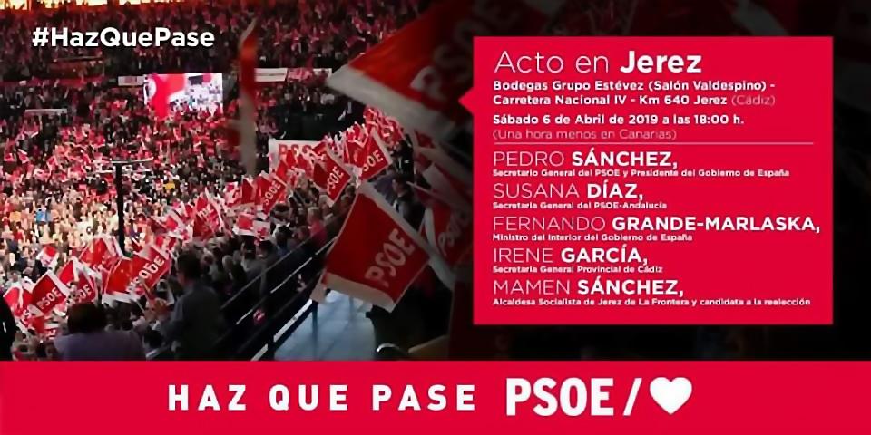 Acto público en Jerez de la Frontera con Pedro Sánchez